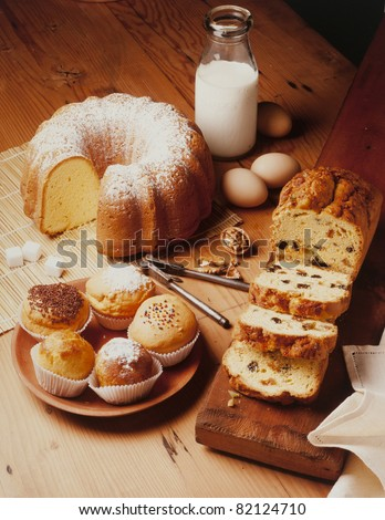 warm and delicious bakery preparations - stock photo