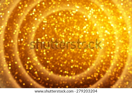 Warm bokeh yellow lights background with glowing circle waves - stock photo