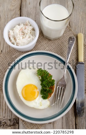warm breakfast muffin with egg and parsley on a plate - stock photo