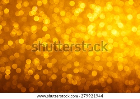 Warm bright golden lights bokeh background - stock photo