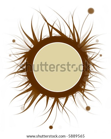 Warm brown tones floral round banner template - stock photo