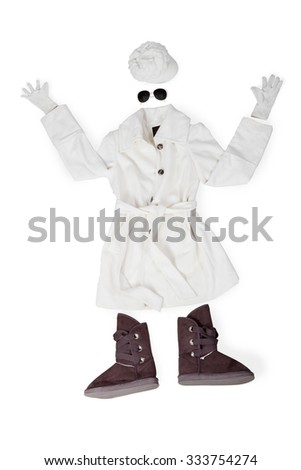Warm clothes for women in winter with shoes, mittens, glasses, and hat - stock photo