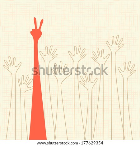 warm colorful up hand, illustration with texture. Raster version - stock photo