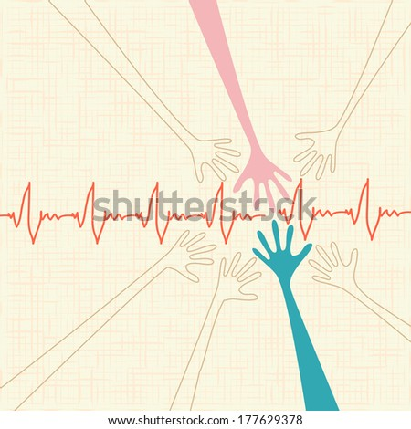 warm colorful up hand, Love illustration with texture. Raster version - stock photo
