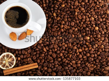 warm cup of coffee as background