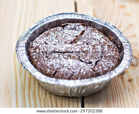 Warm dessert chocolate cake  - stock photo