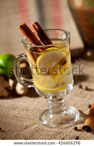 Warm Drink with Cinnamon, Ginger and Lemon