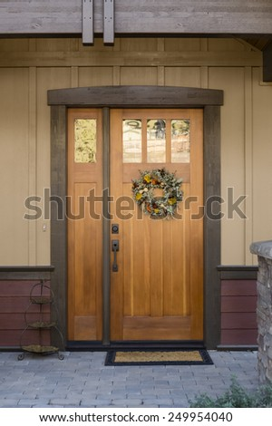Entryway stock photos images pictures shutterstock for Natural wood front door