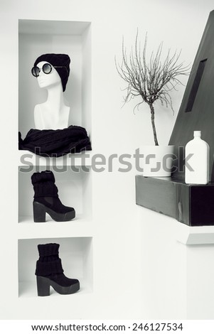 Warm Fashionable Clothing. Trend knitted garments. Black accent style - stock photo