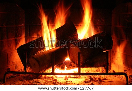 Warm Fireplace - darker shot - stock photo