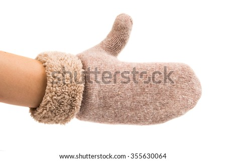 warm gloves made of wool on a white background