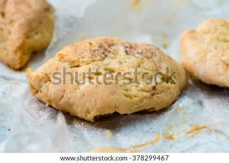 Warm, golden brown, Homemade cookie on rack . Shallow depth of field.
