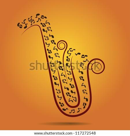warm jazz background, illustration - stock photo