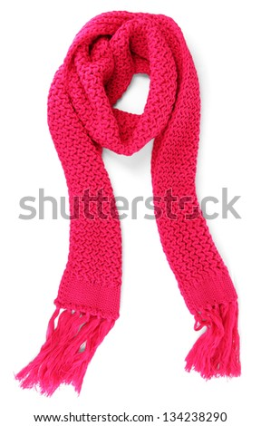 Warm knitted scarf pink isolated on white - stock photo