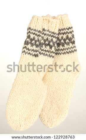 Warm knitted socks on isolated on white