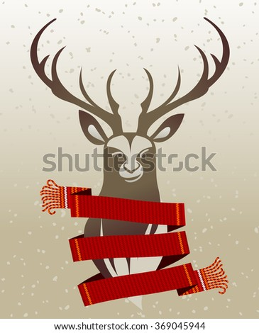 Warm knitted winter scarf wrapped around the neck of the deer against the backdrop of snow and spruce forest.