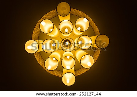 Warm lamps against cold lighting in a Hotel - stock photo