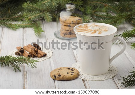 Warm latte on a nice holiday evening