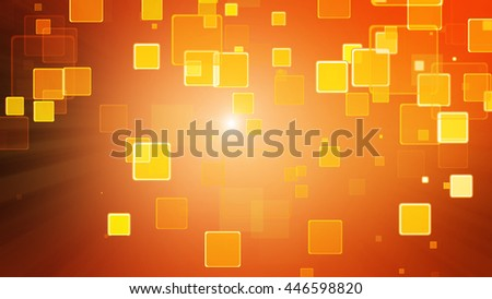 Warm orange color motion background with animated squares. Light ray effect - stock photo