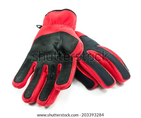 warm red gloves on white background - stock photo
