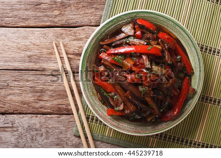 Warm salad of eggplant in Korean-style close-up on a plate. Horizontal view from above
