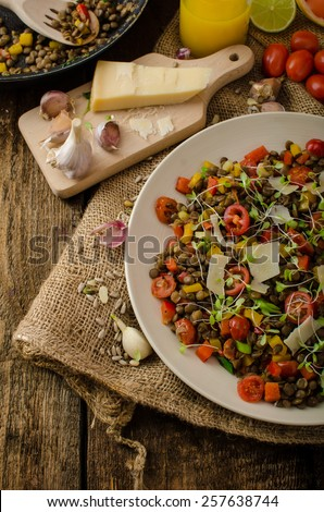 Warm salad of lentils, bio healthy, diet food, vegetarian, parmesan shavings and microgreens - stock photo