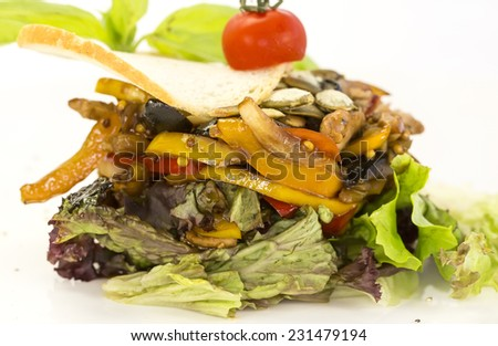 warm salad of vegetables and meat on a plate in a restaurant - stock photo