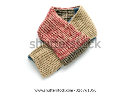 Warm scarf on a white background - stock photo
