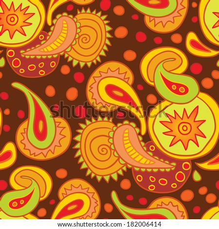 Warm seamless pattern with paisley. Raster version.
