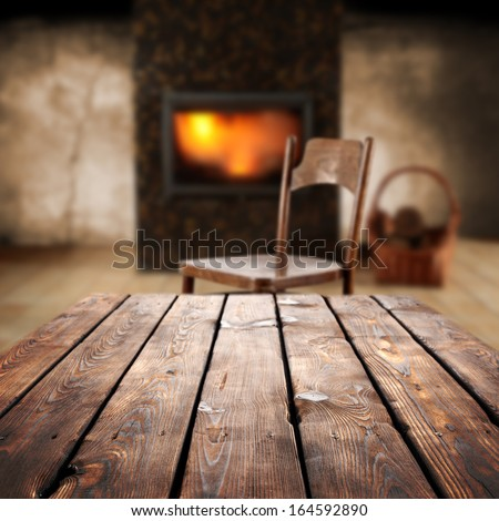warm space and table  - stock photo