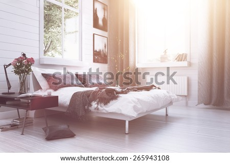 Warm sunlight with sun flare in a modern luxury bedroom with a double divan bed, flowers, artwork on the walls and long drapes in grey and white decor. 3d Rendering - stock photo