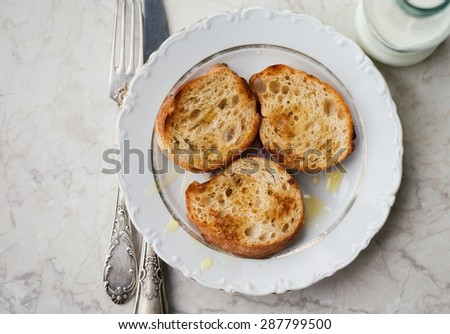 Warm Toasts with Honey and Milk Healthy Homemade Food Top View