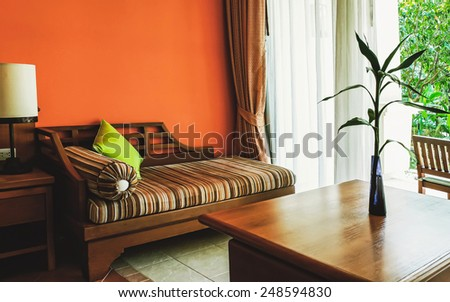 warm tone of living room - stock photo