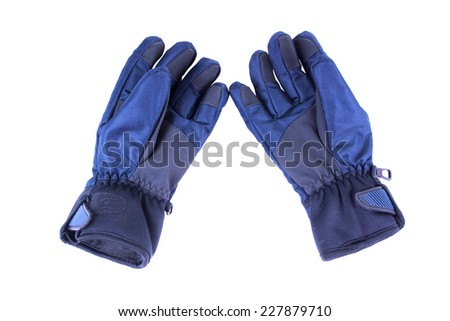 Warm, waterproof gloves. Isolated on white background - stock photo