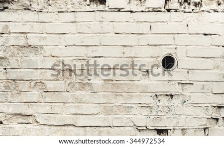 Warm white brick wall texture background. Vintage effect. - stock photo
