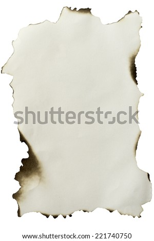 Warm white paper texture with burned edge isolated.