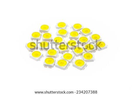Warm White Power LED, Electronic Component [Soft Focus]. - stock photo