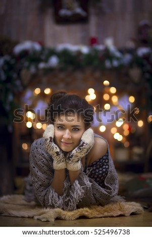 Warm woman portrait in christmas country decoration