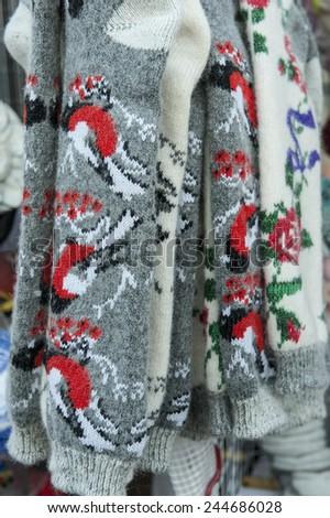 warm, wool, socks, handmade, beauty - stock photo