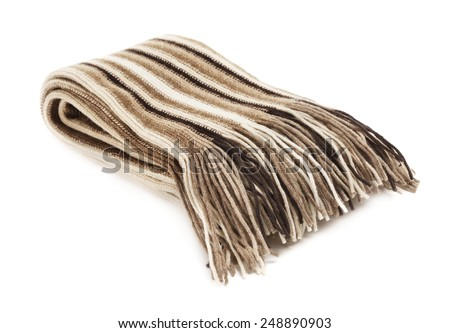 warm woolen scarf, isolated on white background