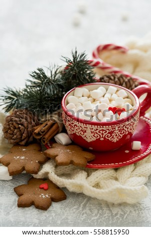 Warmth and comfort. Cocoa with marshmallows. My heart is filled with love