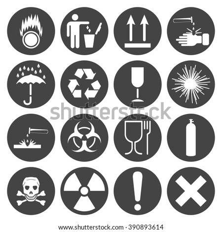 Warning and Transportation icons set, 16 signs on round dark plates, 2d  raster symbols - stock photo