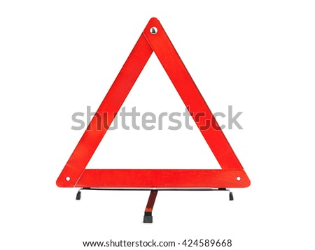 Warning car sign - red triangle isolated on a white background - stock photo