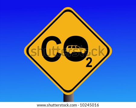Warning CO2 emissions from automobile sign illustration JPG