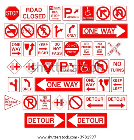 Warning / danger road signs in vector form - stock photo