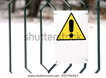 warning danger sign yellow with white space to write