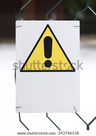 warning danger sign yellow with white space to write a sentence