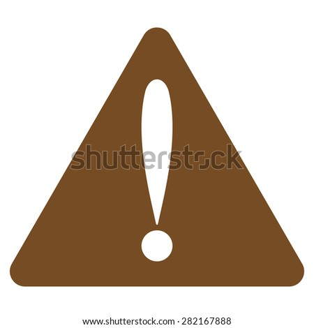 Warning error icon from Basic Plain Icon Set. Style: flat symbol icon, brown color, rounded angles, white background. - stock photo
