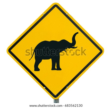 warning  for elephants, yellow warning sign, warning sign, lable, Yellow warning sign, Yellow sign  isolated on white background