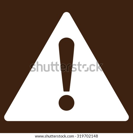 Warning icon from Primitive Set. This isolated flat symbol is drawn with white color on a brown background, angles are rounded.